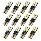 12Pack 194 LED Light Bulb Canbus Error Free, T10 168 W5W Led Bulb White, 24-SMD 4014 Chipset Led Replacement for Map Side Marker Courtesy Turn Signal Clearance Lights
