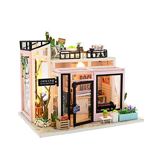DIY Dollhouse Kit Tiny Apartment Kit DIY Mini Dollhouse Kit Music Studio Christmas,Birthday,New Year Gift for Him/Her Toy House with Led Lights&Dust Proof House Modern Dollhouse Kit DIY 3D Dollhouse