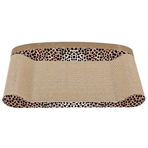 Qiuge Cama de Gato, Hermoso patrón de Leopardo Sofá Papel Corrugado Cat Scratch Tablero Claw Grining Toy Cat Litter Durable