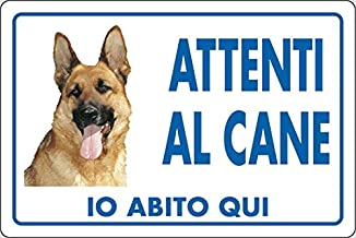 Cartello attenti al cane TARGA CANE LUPO  in alluminio 20x30 cm