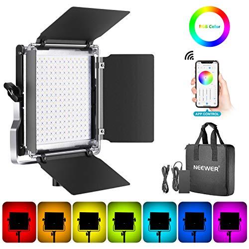 Neewer RGB Luce 480 LED SMD Controllo via APP, CRI 92, 3200-5600K, Luminosità 0% - 100%, 0-360 Colori Regolabili, 9 Condizioni Applicabili, con LCD Display, Staffa-U, Barndoor, Guscio in Metall