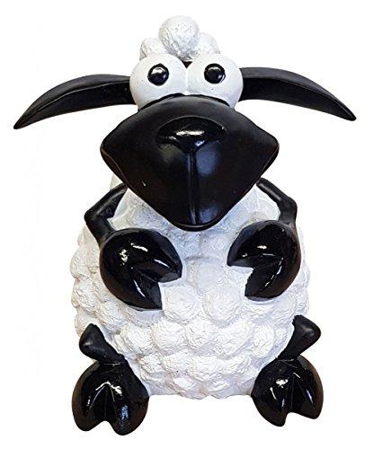 Fachhandel Plus Deko-Schaf bunt sitzend wählbar Dekofigur Garten Tierfigur lustige Schafe klein, Farbe:weiß