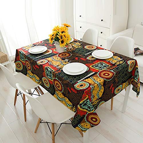 Tafelkleed, rechthoekig, katoen en linnen, hittebestendig en vochtbestendig, decoratie voor huis, tuin, modern effect, 140 x 240 cm
