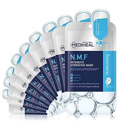 Official MEDIHEAL [Korea's No. 1 Sheet Mask] - L & P Cosmetics N.M.F Intensive Hydrating Mask (10 Masks) | Highly Moisturizing Korean Skincare, Treat Dull, Dry, Dimish Acne, Improves Skin Barrier