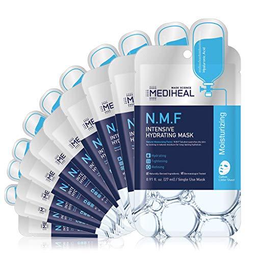 MEDIHEAL Official [Korea's No 1 Sheet Mask] - N.M.F Intensive Hydrating Mask (10 Masks)   Highly Moisturizing Korean Skincare, Treat Dull, Dry, Dimish Acne, Improves Skin Barrier 