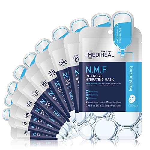 MEDIHEAL Official [Korea's No 1 Sheet Mask] - N.M.F Intensive Hydrating Mask (10 Masks) | Highly Moisturizing Korean Skincare, Treat Dull, Dry, Dimish Acne, Improves Skin Barrier|