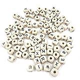 UBL PULABO100 cuentas de madera con letras coloridas del alfabeto A-Z Cubos para hacer joyas de niños, color blanco, muy práctico y popular