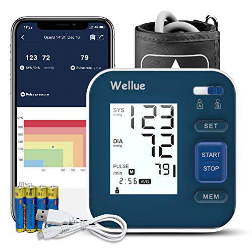 Wellue Bluetooth Blood Pressure Monitor - Digital Upper Arm Blood Pressure with Wide Range Cuff, Large Backlit LCD, Storesup to 240 Readings for Two Users, BP Monitor for iOS & Android Devices