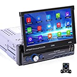 CAMECHO Android Single Din Car Stero Autoradio 1 Din 7 Inch Flip Out Touchscreen Car Multimedia Player Support WiFi,GPS,Bluetooth,FM, USB, Mirror Link for iOS/Android Phones+Rear View Camera