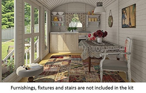 Allwood Mayflower Base   117 SQF Garden House, Cabin Kit 7 Unique style. Focal point of any garden. Total floor area 117 SQF Structures on wheels are except from permits in most states