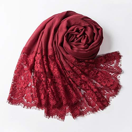 Xzwzhqxs Primavera cordón de la Manera Marea Marca Señora Bufanda de algodón Suave Chal (Color : Vino Rojo, Size : 90X180CM)