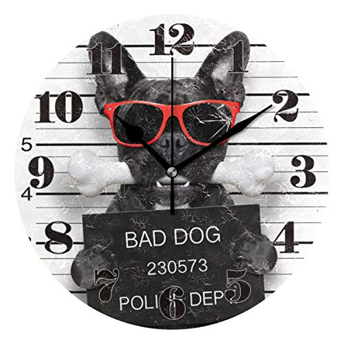 senya Wall Clock, Silent Non Ticking Round Funny French Bulldog Decorative Art Clock for Living Room Bedroom Office Easy to Read
