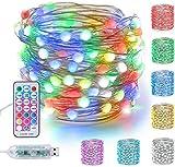 BrizLabs Guirnalda Luces 10m 100 LED USB Cadena de Luces Colores Interior Impermeable con Control Remoto 11 Modos Alambre de Cobre Luces de Hadas Decoración para Fiesta Boda Exterior Navidad Jardín