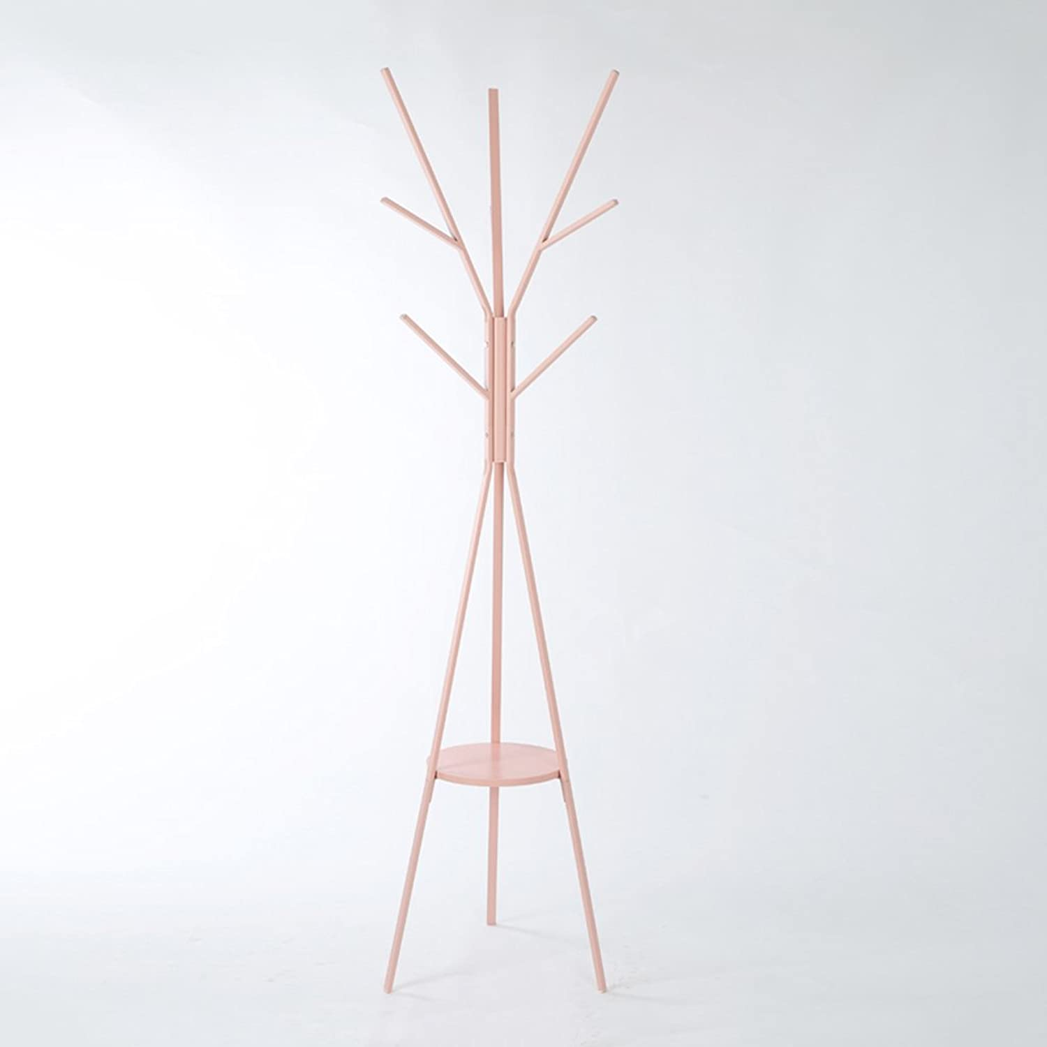 Floor Clothes Racks Bedroom Hanging Clothing Rods Household Irons Branch Shelves (color   Pink)