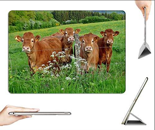 Case for iPad Mini 5 & Mini 4 - Cows Pasture Nature Landscape Flutes Herb Green
