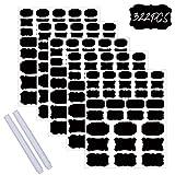 322PCS Etiquetas de letras negras autoadhesivas, pegatinas de pizarra impermeables con 2 marcadores...