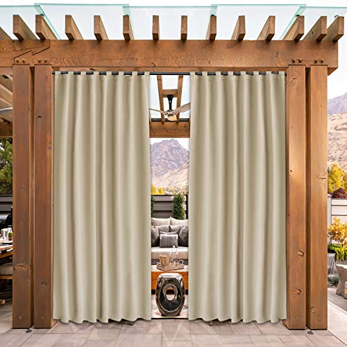 SHEEROOM Indoor/Outdoor Curtains for Patio, Beige, 52 x 84 inch - Thermal Insulated, UV Sun Light Blocking Waterproof Tap Top Blackout Curtains for Bedroom/Living Room, Porch, Cabana, 2 Panels