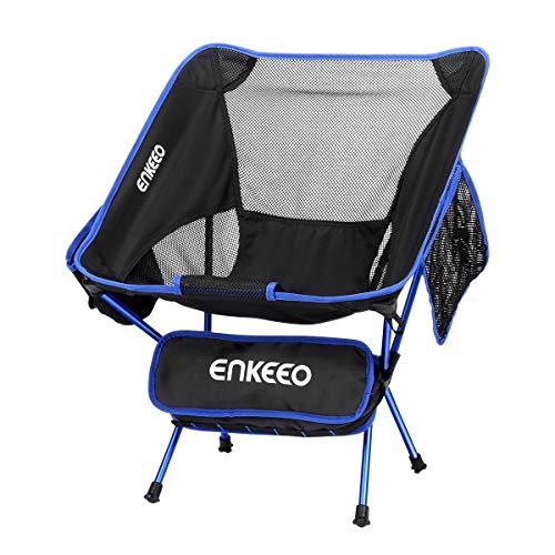 ENKEEO Campingstuhl Faltstuhl Klappbar Campingstühle Ultraleicht Angelstuhl Klappstuhl Moonchair Camping Hocker mit Rückenlehne, Tragetasche für Angeln, Wandern, Picknick, bis zu 150kg (Blau)
