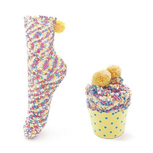 Leapop 1 oder 3 Paare Damen Mädchen Socken Cupcakes Design Flauschig Gemütliche Weiche Dicke Warme Weihnachtssocken mit Geschenkbox (Gelb (1 Paar))