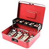 KYODOLED Large Cash Box with Combination Lock,Money Box with Cash Tray, Lock Safe Box with Key,Money Saving Organizer,11.81Lx 9.45Wx 3.54H Inches,Red XL Large