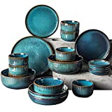 WDSWBEH Steingut Geschirr Set, modern Teller Set,Keramik tafelservice speiseteller, Vintage Geschirr bunt,Fine Porcelain Crockery, Blue Dinner Plates, Deep Soup Plates,Serving Dishes 28-Piece