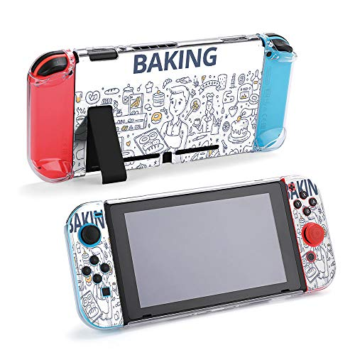SUPNON Baking Doodle Protective Case Compatible with Nintendo Switch - Soft Slim Grip Cover Shell for Console and Joy-Con with Screen Protector, Thumb Grips, Anti-Scratch Design2117