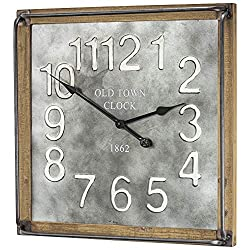 American Art Decor Old Town Clock 1862 Oversized Vintage Wood and Metal Wall Clock 23