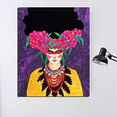 KWzEQ Lienzo nórdico Arte de la Pared Retro Poster Print Imagen Moderna de la Pared para la decoración del hogar de la Sala de Estar,Pintura sin Marco,50x60cm