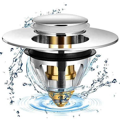 Tappo di scarico Popup, universale, in acciaio inox, con anima in acciaio inox, tipo push per lavandino, con 2 guarnizioni per il bagno tra 32 ~ 38 mm, accessorio per scarico (1 pezzo)