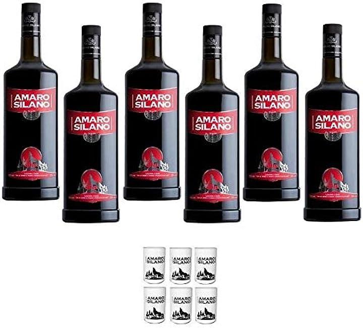 Amaro silano 1 lt 6 bottiglie con 6 bicchieri originali bosco liquori 44556