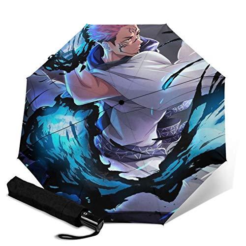 Jujutsu Kaisen.webp dreifach faltbarer Regenschirm öffnet und schließt automatisch faltbarer Waterpro Reiseschirm UV-Schutz und faltbarer Outdoor praktische Trageschicht