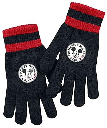 Mickey Mouse Micky Maus 1928 Frauen Fingerhandschuhe schwarz/rot