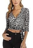 MISS MOLY Camisetas Mujer Cuello V Profundo Camisetas Blusa Top Corto con Estampado de Leopardo Large