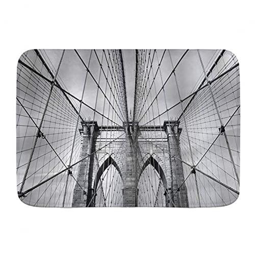 MAZIHAN Impresión 3D De Alfombrillas Alfombrillas De Puerta Paisaje Nueva York Puente De Brooklyn Paisaje De La Ciudad Piso De Cocina Alfombra De Baño Alfombra Absorbente Decoración De Baño Interior