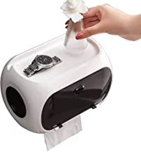 Toilet Paper Holder Wall Mounted Adhesive Toilet Roll Holder with Phone Shelf Tray Storage Multifunctional Bathroom Bracket Waterproof Tissue Box with Cover Lid