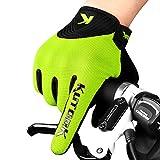 KUTOOK Cycling Gloves for Men Biking Gloves MTB Gloves Padded Road Bike Gloves Full Finger Green Large