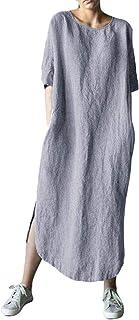 Shallood Donna Estivo Elegante Scollo a V Manica Corta Cotone Lino Vestito da Cocktail Abito con Tasca 01 Grigio 48