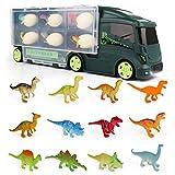 Dinosaurios Camión Juguetes Huevos de Dinosaurio Remolque para Coche 18 Figuras Almacenamiento Aquadragons Juegos Educativos de Ciencias Regalos para Niños 3 4 5 6 Años