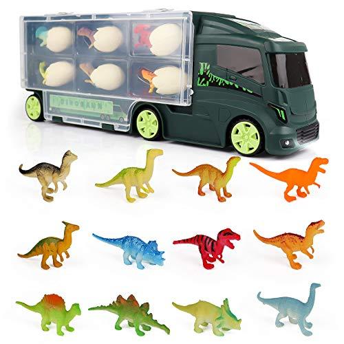 Dinosaurios Camión Juguetes Remolque para Coche 18 Figuras Huevos de Dinosaurio Almacenamiento Aquadragons Juegos Educativos de Ciencias Regalos para Niños 3 4 5 6 Años