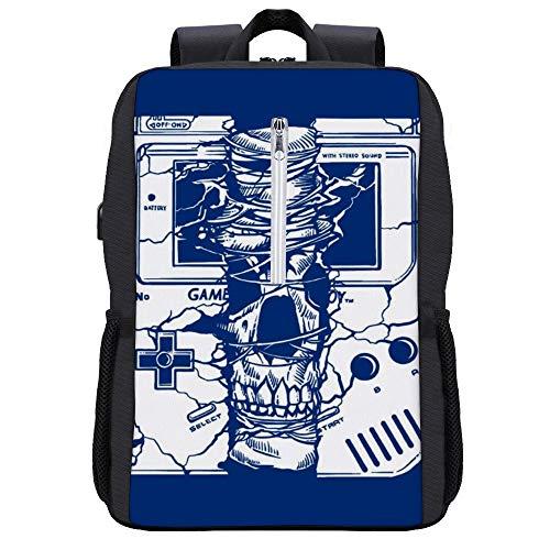 Gameboy Skull Rucksack Daypack Bookbag Laptop Schultasche mit USB-Ladeanschluss