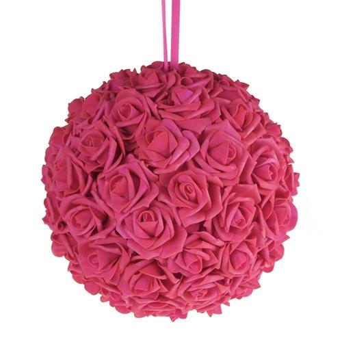 "Homeford FNS008565FUS Soft Touch Foam Kissing Ball Wedding Centerpiece, 12"", Fuchsia"