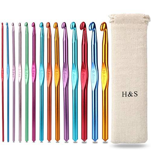 H&S Häkelnadel-Set, Aluminium, 14 Nadeln mit Tasche, 2 mm, 2,5 mm, 3 mm, 3,5 mm, 4 mm, 4,5 mm, 5 mm, 5,5 mm, 6 mm, 6,5 mm, 7 mm, 8 mm, 9 mm, 10 mm