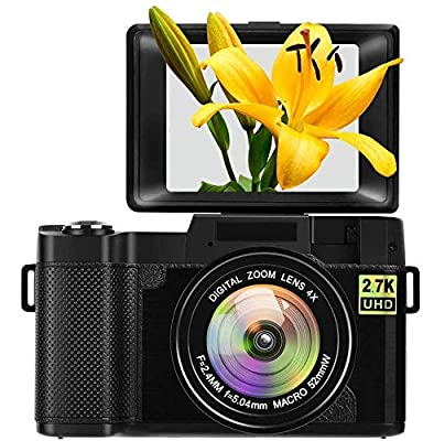 Digital Camera Vlogging Camera with Flip Screen for YouTube 24MP 2.7K Ultra HD 3.0 Inch with Retractable Flash Light by SUNLEO