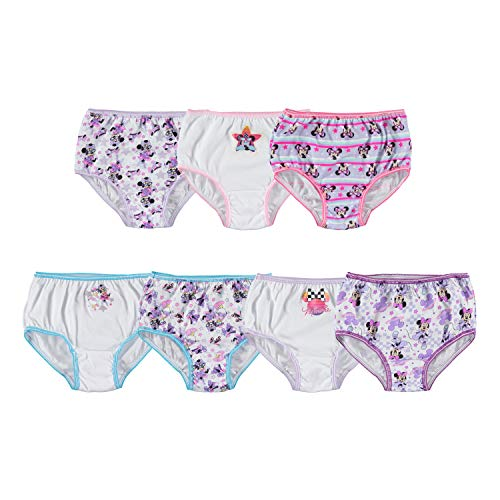 Disney Girls' Toddler Minnie Seven Pack Brief Underwear, Multi, 2T/3T