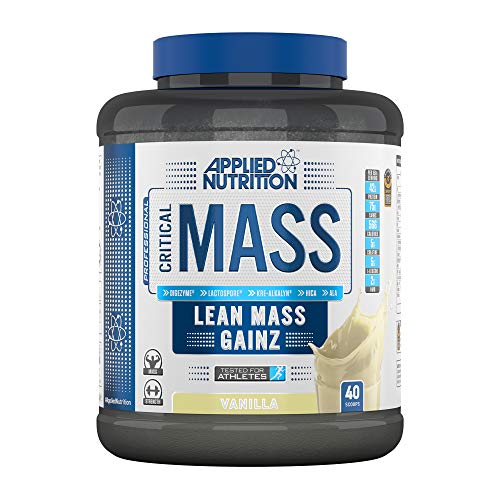 Applied Nutrition Critical Mass Professional Protein Powder, High Calorie Weight Gainer, Low Sugar, Informed Sport Tested, Lean Mass with Creatine, Glutamine, BCAA - 2.4kg (Vanilla)