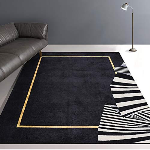 QFW Rectangle Loom Durable Printed Carpet Bedroom Furry Carpet Black Rugs Geometric Pattern Carpet Large Area Carpet Living Room Bedroom Non Shedding(Size:140200cm)