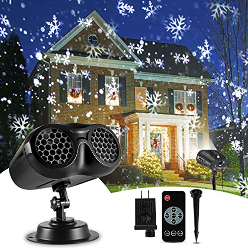 Christmas Projector Lights Outdoor, B-right 2-in-1 Rotating Snowfall Projection with Remote Control Waterproof LED Christmas Snowflake Projector, Upgrade Landscape Lamp for Xmas Party Holiday Decor