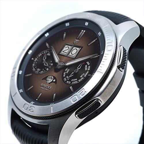 Ringke Bezel Styling para Galaxy Watch 46mm / Galaxy Gear S3 Frontier y Classic Bisel Ring Adhesive Cover Anti Scratch Protección de Acero Inoxidable [Inoxidable] para Galaxy Watch Accesorio GW-46-17
