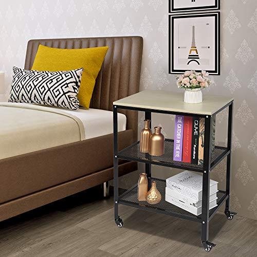 SZTT Carrito de cocina de 3 niveles para microondas, carrito de cocina con ruedas, soporte para panaderos de pie con marco de metal para sala de estar gris