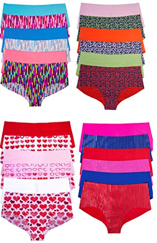 Sexy Basics Women's 24 Pack Boyshort No Panty Line Seamless Underwear (24 Pack- Assorted Prints & Solids, Large)